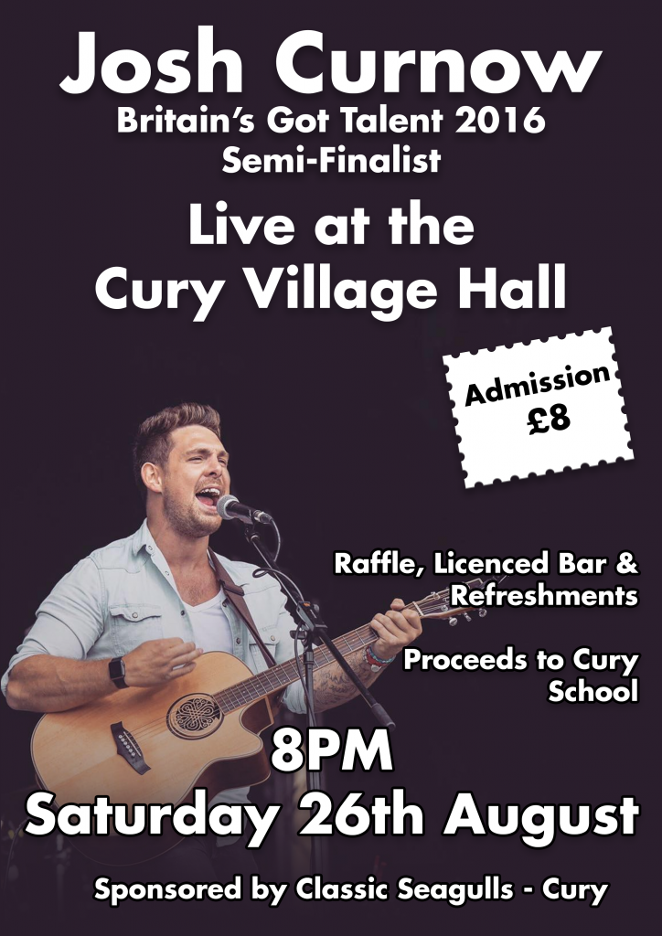Josh Curnow Performing Live at the Cury Village Hall