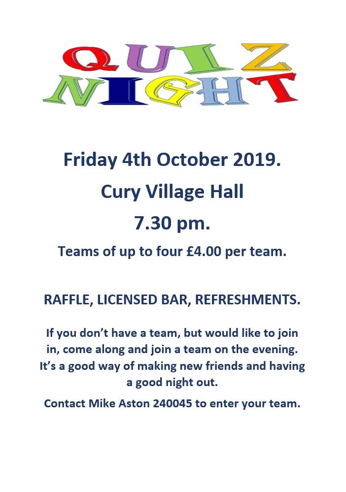 Cury Village Hall Quiz Night 4/10/19